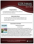May 2018 CVM Library Newsletter