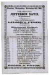 Confederate ticket for Jefferson Davis and Alexander H. Stephens