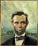 Oil on Board Bust Portrait of Abraham Lincoln