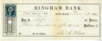 Hingham Bank Check, Paid to Self, Signed by [?] Willard