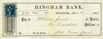 Hingham Bank Check, Paid to William Jacobs, Signed by Mrs. Anna Jacobs