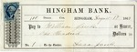 Hingham Bank Check, Paid to William Jacobs, Signed by Anna Jacobs