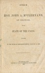 Speech of Hon. John A. McClernand, of Illinois: on the state of the Union: delivered in the House of representatives, January 14, 1861.