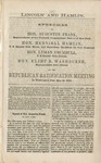 Lincoln and Hamlin: speeches of Hon. Augustus Frank, Hon. Hannibal Hamlin, Hon. Lyman Trumbull [and] Hon. Elihu B. Washburne at the Republican ratification meeting in Washington City, May 19, 1860.