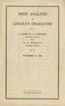 Brief analysis of Lincoln's character: a letter to J.E. Remsburg, Oak Mills, Kansas, from W.H. Herndon, Springfield, Illinois, September 10, 1887.