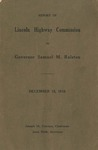 Report of Lincoln Highway Commission to Governor Samuel M. Ralston, December 15, 1916.