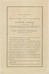 Arrangements for the Memorial Address on the Life and Character of Abraham Lincoln, to be Delivered, at the Request of Both Houses of Congress of the United States, Before Them, in the Hall of the House of Representatives
