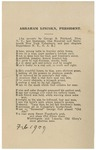 Abraham Lincoln, President :an acrostic /by George B. Fairhead, New York Mills, late lieutenant, One hundred and seventeenth New York Volunteers and past chaplain, Department N.Y., G.A.R.
