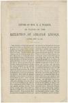 Letter of Hon. R.J. Walker, in favor of the reelection of Abraham Lincoln :London, Sept. 30, 1864.