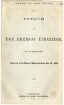 State of the Union: Speech of Hon. Emerson Etheridge, of Tennessee Delivered in the House of Representatives, Jan. 23, 1861.