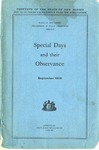 Special Days and Their Observance.