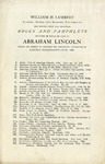 William H. Lambert, Address: Mutual Life Building, Philadelphia, Asks Reports Upon the Following Books and Pamphlets Relating in Whole or Part to Abraham Lincoln Which are Needed to Complete the Collection Catalogued in Lincoln Bibliography - Fish, 1906.