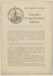 Lincoln's Cooper Institute address. : Address at Cooper Institute, New York, Feb. 27, 1860