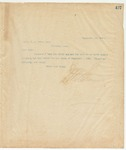 Letter to Capt. W.A. Brown, Sec, September 16, 1895