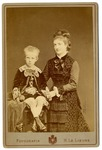 Margherita of Savoy, Queen Consort of Italy with seated son, Vittorio Emanuele III